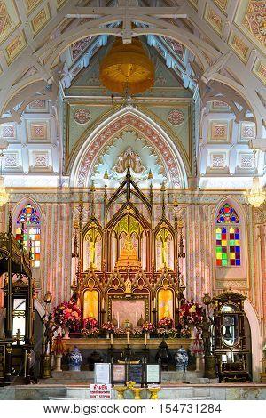 AYUTHAYA THAILAND - NOVEMBER 3: Buddhist Church with Gothic art in  Wat Niwet Thammaprawat  On November 3, 2016 at Bang pa-in, Ayutthaya, Thailand.