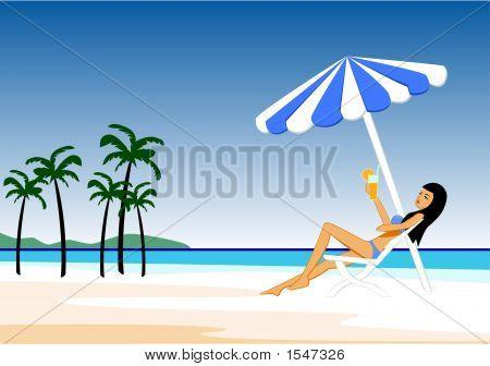 The Girl On A Beach.Eps