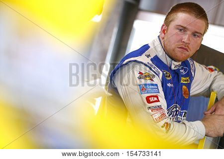 Martinsville, VA - Oct 28, 2016: Chris Buescher (34) hangs out in the garage during practice for the Goody's Fast Relief 500 at the Martinsville Speedway in Martinsville, VA.