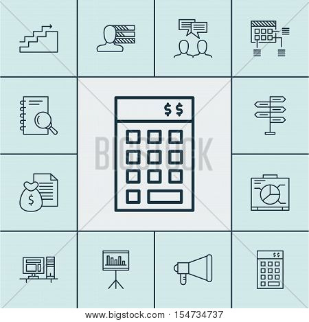 Set Of Project Management Icons On Announcement, Opportunity And Growth Topics. Editable Vector Illu