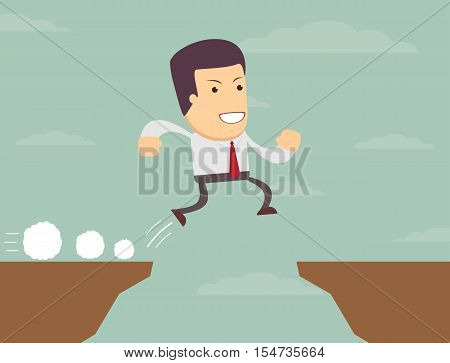 Businessman is jumping over the abyss. Stock vector illustration
