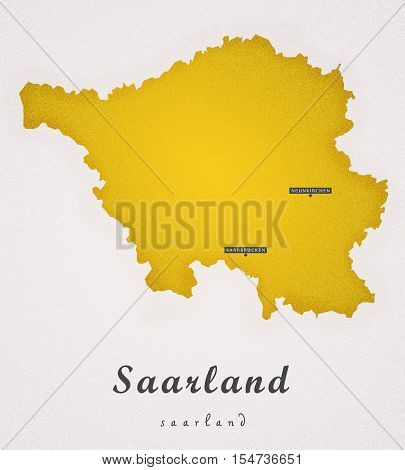 Saarland Germany DE Art Map colored illustration