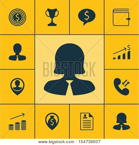 Set Of Hr Icons On Business Woman, Employee Location And Curriculum Vitae Topics. Editable Vector Il