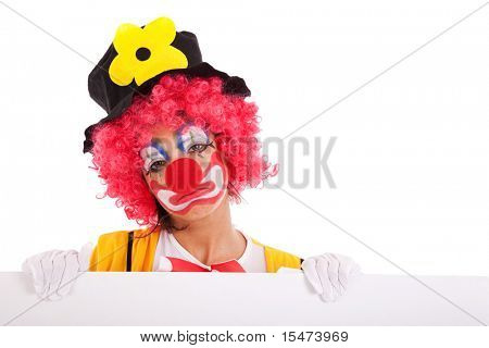 sad clown holding a blank banner (isolated on white)