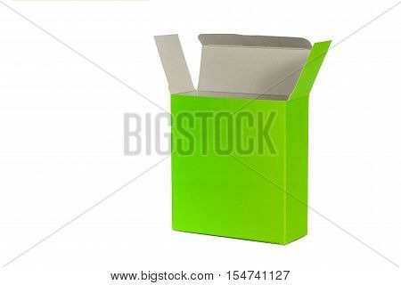 Green Box With Lid Open Or Green Paper Package Box Isolated On White Background