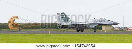 Leeuwarden, The Netherlands - June 10, 2016: Slovak Air Force Mig-29 Fulcrum Landing During A Demons