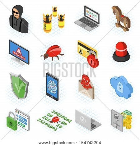 Internet Security isometric Flat Icon Set for Flyer, Poster, Web Site Like Hacker, Virus, Spam and Safe.