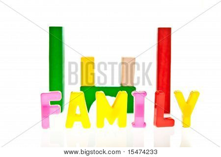 Dreams family and life concepts from toy blocks