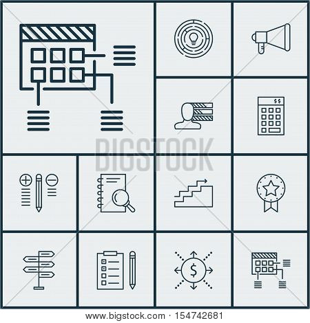 Set Of Project Management Icons On Reminder, Announcement And Investment Topics. Editable Vector Ill