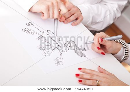Detail of businesspeople hands working on a firewall schema (selective focus)