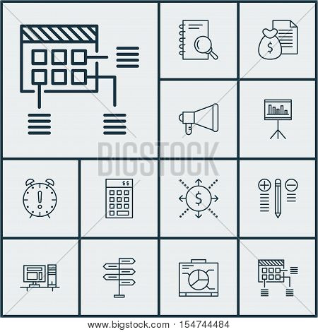 Set Of Project Management Icons On Analysis, Computer And Announcement Topics. Editable Vector Illus