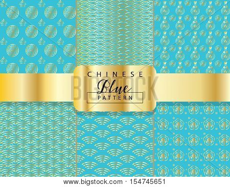 Chinese luxury abstract wavy pattern. Set of Asian traditional seamless blue pattern with gold ornament. Vector illustration. Ornamental silk texture. Geometric shapes background. Summer collection.