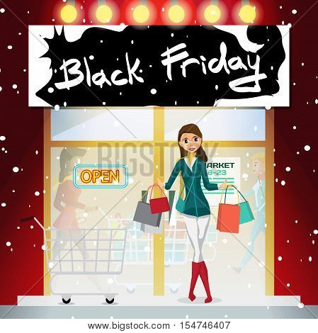 Young woman on the porch of the supermarket on the day of Black Friday sales. Cartoon style vector illustration