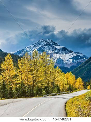 Cloudy autumn day in the Canadian Rockies. The asphalt road passes among  snow-capped peaks