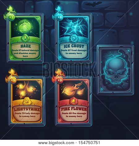 Set spell cards of nature ice fire light. For web video games user interface design