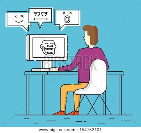 Vector flat linear illustration of trolling. Social provocation or mockery in internet