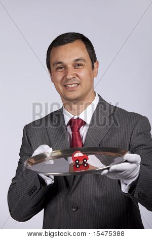 happy businessman showing you car services solutions