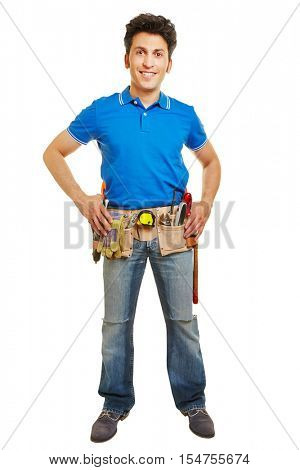 Happy handyman with tool belt isolated on a white background