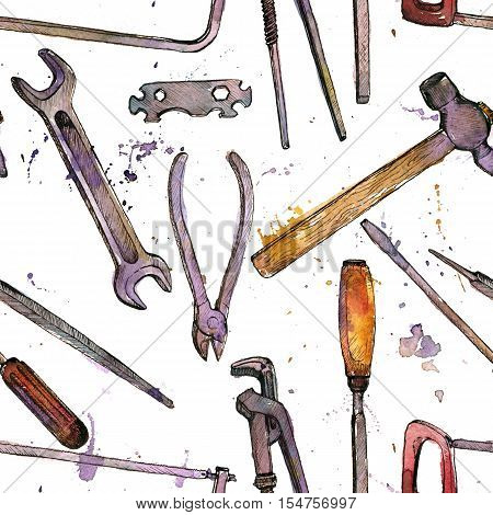 seamless pattern with hand drawn tool kit at white background, shacksaw, adjustable wrench, hammer, pliers and chisel, vintage ink drawing illustration, craft ornament
