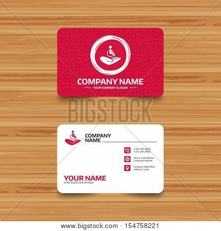 Business card template with texture. Disabled human insurance sign icon. Hand holds wheelchair man symbol. Health insurance. Phone, web and location icons. Visiting card  Vector