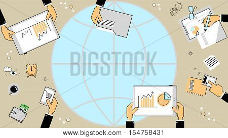 Business investment concept. Business analyst financial reports. Vector flat line
