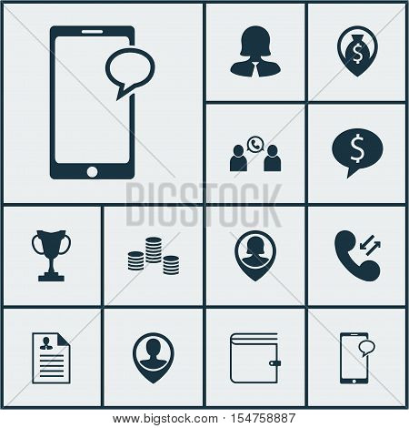 Set Of Human Resources Icons On Employee Location, Phone Conference And Cellular Data Topics. Editab