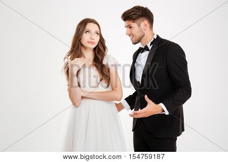 Man argues with a girl. white background