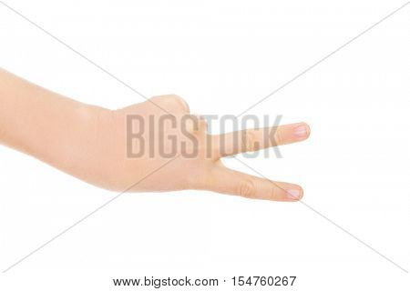 Woman hand shows two fingers - victory sign