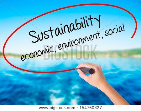 Woman Hand Writing Sustainability  Economic, Environment, Social With A Marker Over Transparent Boar