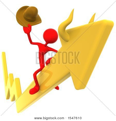Bull Riding Rodeo Stock Market Arrow