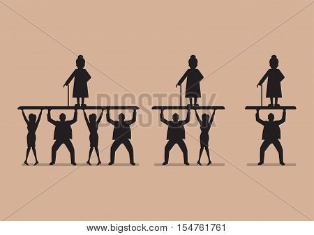 Ratio of Workers to Pensioners in silhouette. Aging population problem