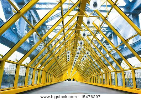 Glazed Yellow Corridor In Office Center