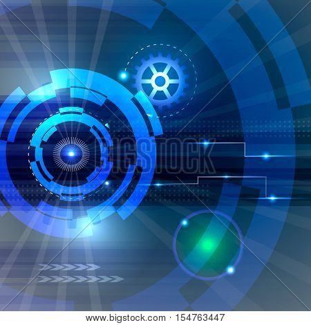 Hi-tech technology background. Tech vector illustration with gear wheel and rays