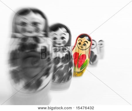 Matrioshka doll. individuality concept