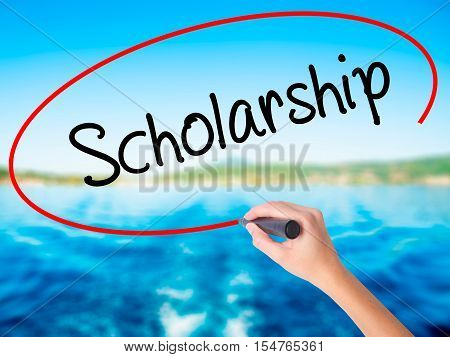 Woman Hand Writing Scholarship With A Marker Over Transparent Board