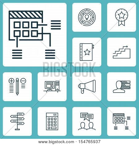 Set Of Project Management Icons On Innovation, Decision Making And Computer Topics. Editable Vector