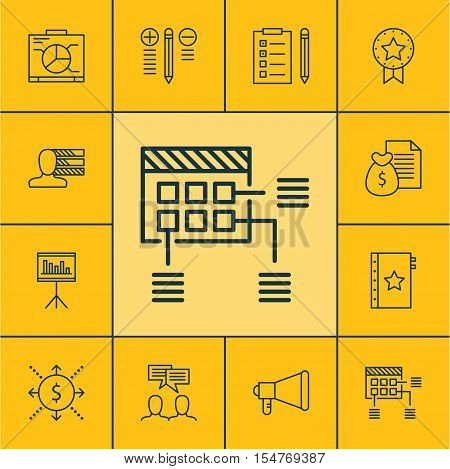 Set Of Project Management Icons On Money, Warranty And Announcement Topics. Editable Vector Illustra