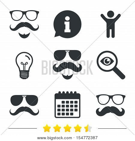 Mustache and Glasses icons. Hipster with beard symbols. Facial hair signs. Information, light bulb and calendar icons. Investigate magnifier. Vector