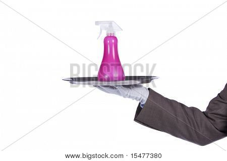 businessman showing you a cleaning service solution
