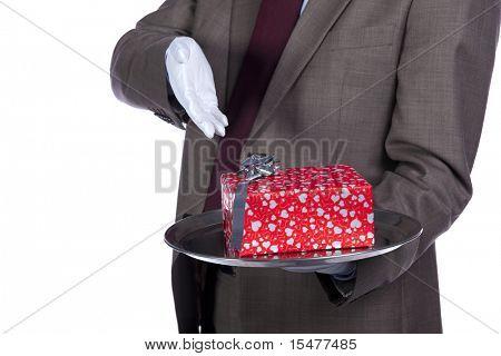 Businessman holding a luxury valentine present in silver platter