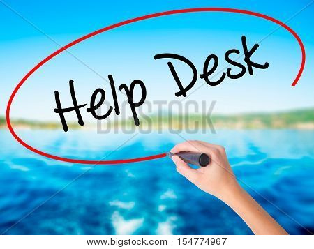 Woman Hand Writing Help Desk With A Marker Over Transparent Board