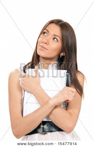 Woman Thinking And Holding In Hand Pen With Notepad
