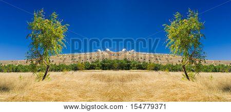 Symmetry in autumnal landscape on Ai-Petri tableland, Crimean peninsula