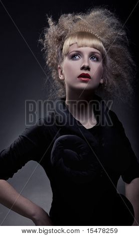 Fashion portrait of a beauty woman with stylish haircut