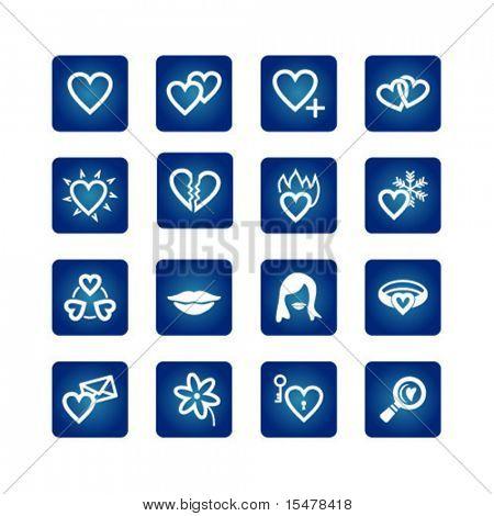 Icon set. Hearts, love, valentine
