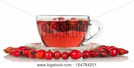 Brier berries and a cup of tea isolated on white background.