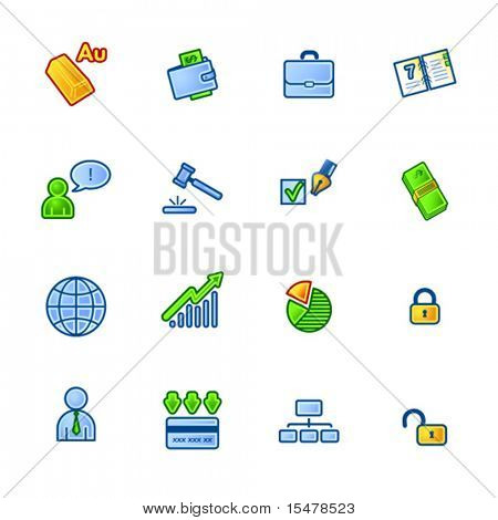 business and money colorful icon set
