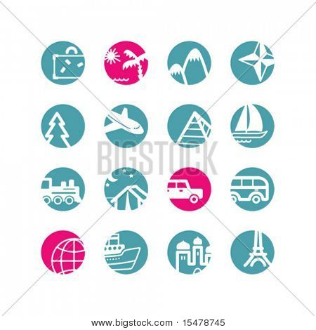 ícones de viagens do círculo