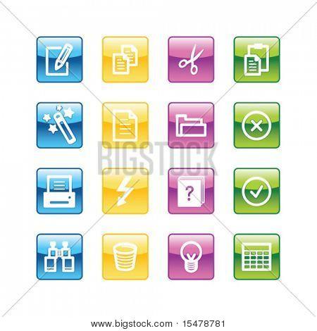 Aqua Dokument-Icons. Vektordatei hat Schichten, alle Symbole in vier Versionen sind enthalten.