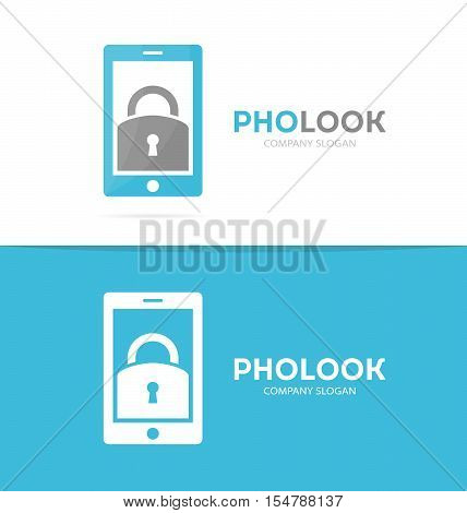 Vector lock and phone logo combination. Padlock and mobile symbol or icon. Unique privacy and security logotype design template.